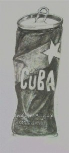 pencil shading Cuba cafe tin Kenfortes art