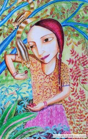 Kenfortes_Girl with squirrel CRAYONS