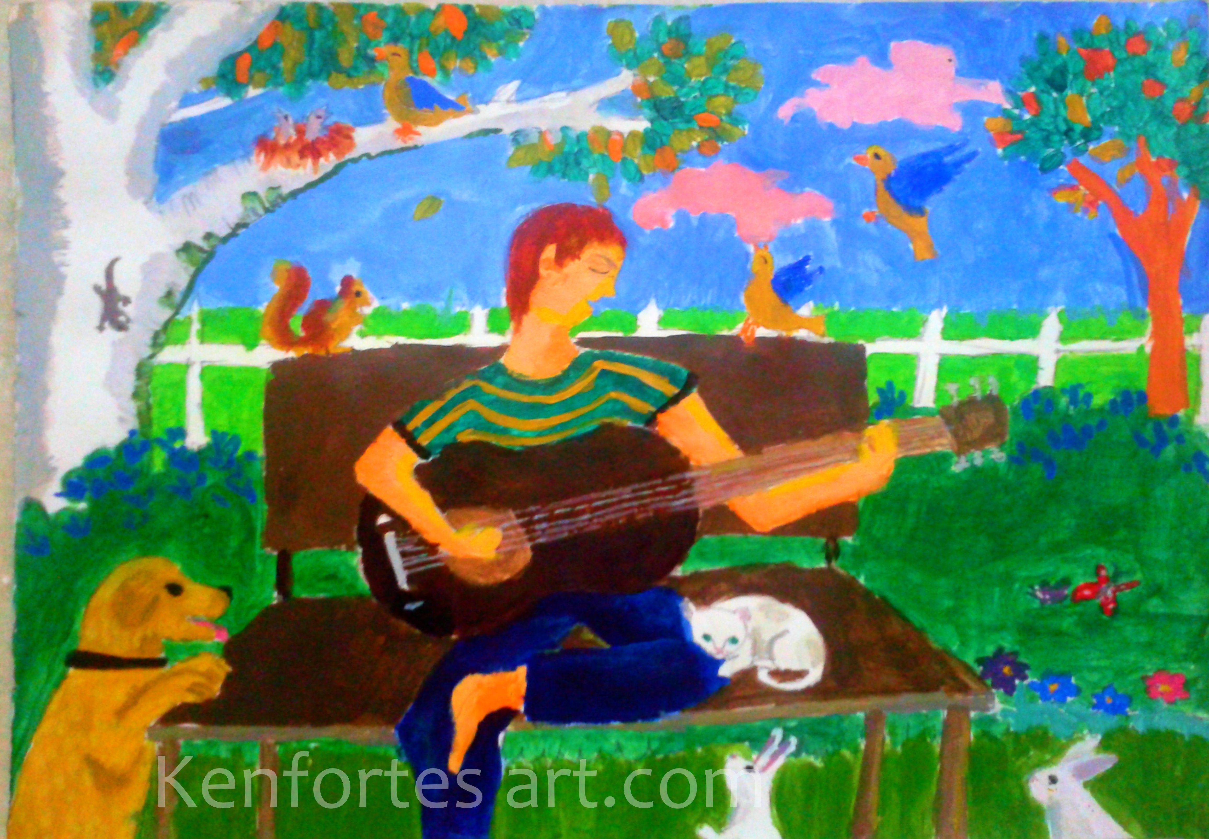 boy with guitar- acrylic painting jp nagar