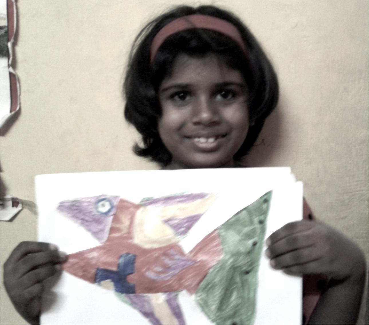 Student Thejashwini at kenfortes art class j p nagar