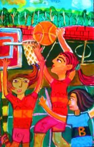 Acrylic painting of basket ball court by Diya- Kenfortes art school bangalore
