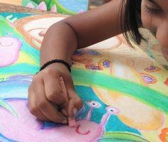 oil pastels - snails in garden by student kenfortes - children online art classes