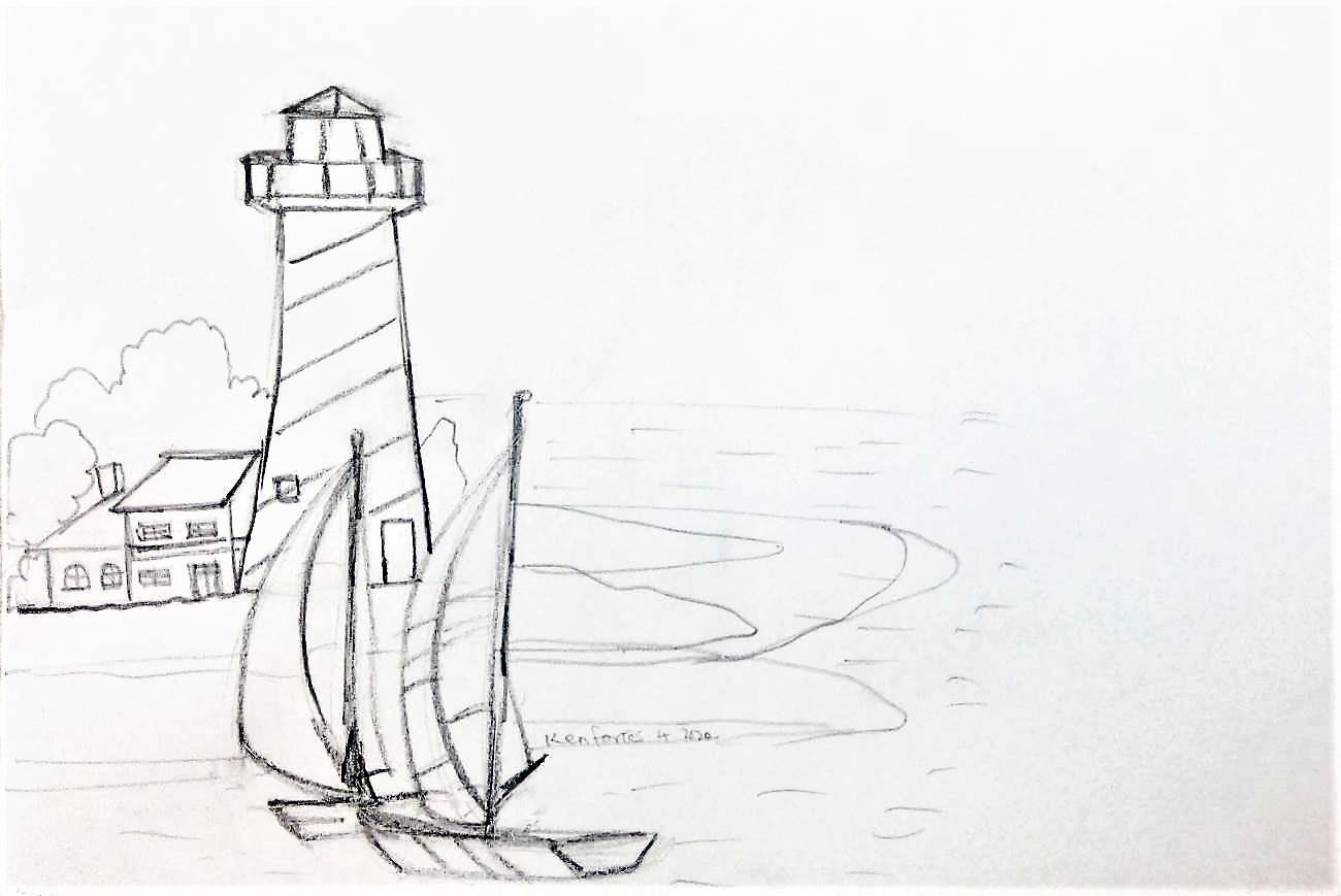 kenfortes-art-class-pencil-sketch-SAIL-BOAT-NEAR-LIGHT-HOUSE
