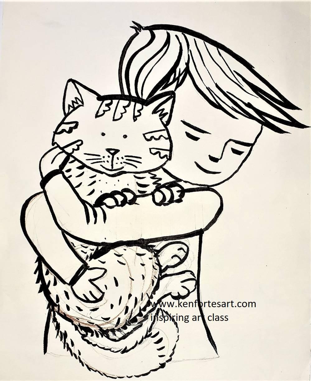 Boy cuddling his pet CAT - children art kenfortes online arts classes india - pencils and paints art works
