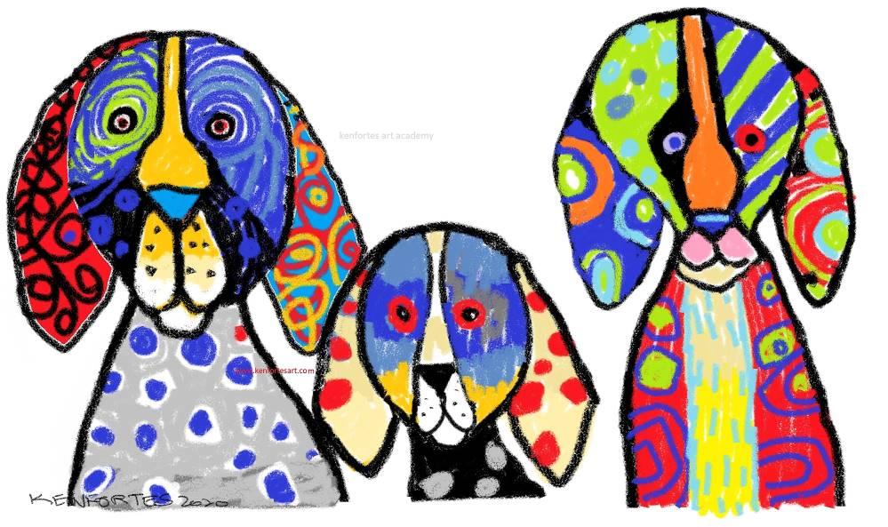 3 Funny dogs in crayons - Kenfortes online children art class - Home work