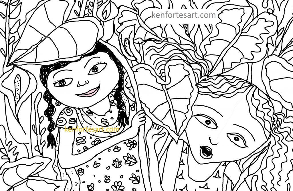 Girls hiding in the garden - pen drawing - kenfortes level 2 beginners children art online classes