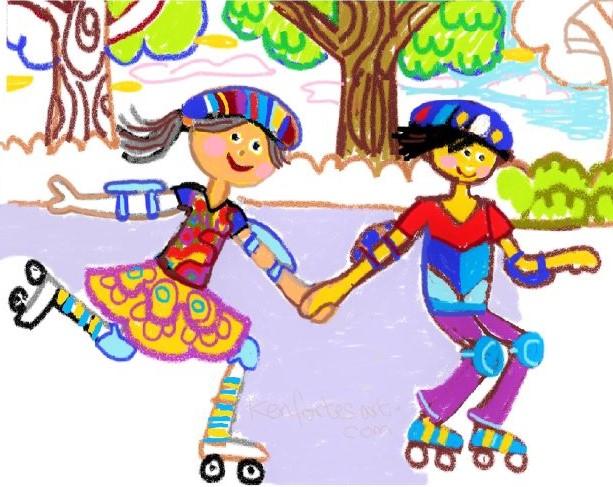 children skating -kenfortes art class online -beginners level
