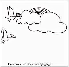 flying birds in magic rainbow clouds - kenfortes art class children coloring pages - 3 Frame storybirds in magic rainbow clouds - kenfortes art class children coloring pages - 3 Frame story
