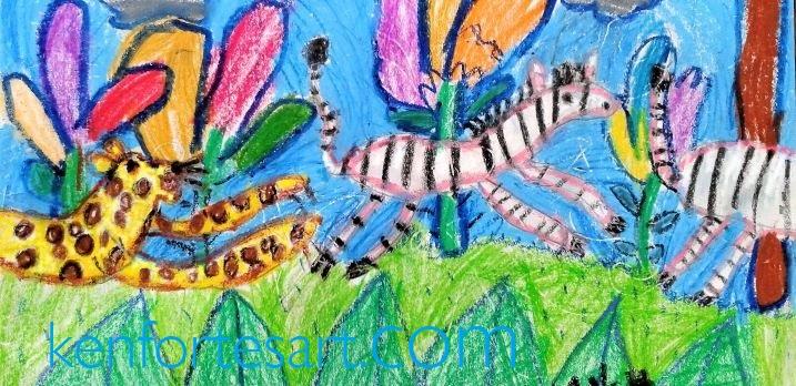 children art - cheetah chasing zebras - kenfortes kids art class works