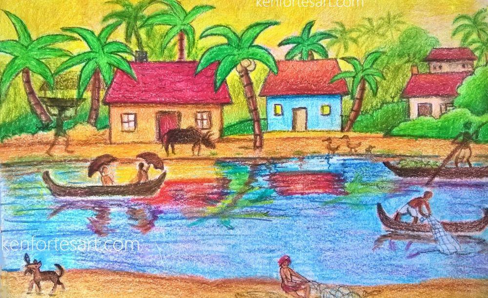 coastal village in kerala - crayon coloring- kenfortes art c