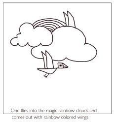 flying birds in magic rainbow clouds - kenfortes art class children coloring pages - 3 Frame story