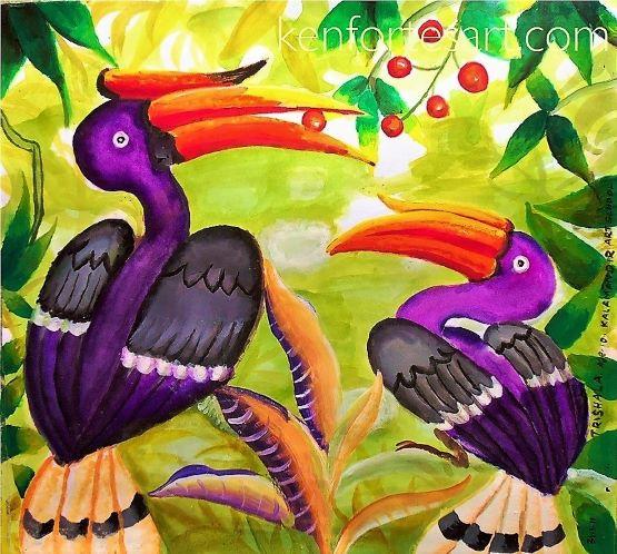 horn bills- kenfortes kalamandir art class student- online art sessions for coimbatore children