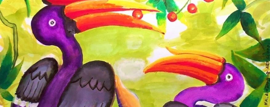 Horn bills in water color - Trishala - kalamandir students art work -kenfortes online art classes