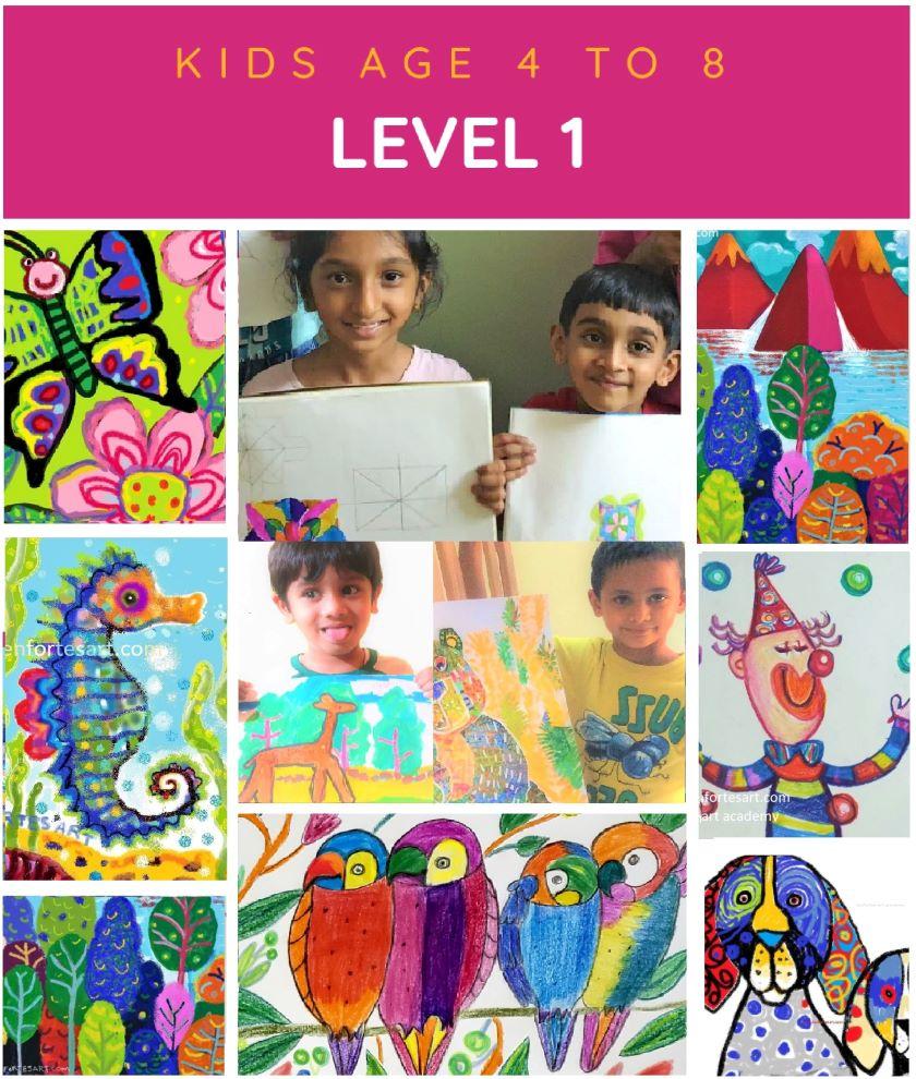 kids level 1 children art classes online - offline - kenfortes art academy india