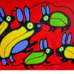 RABBITS canadian oboriginal artist NORVAL MORRISSESAU- liked by kenfortes art class 1