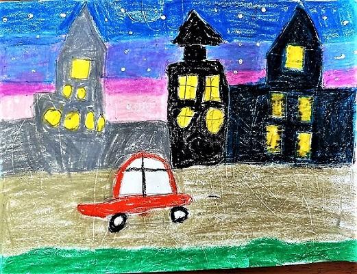 street scene with Buildings and night sky Niralya- children art by kenfortes art class