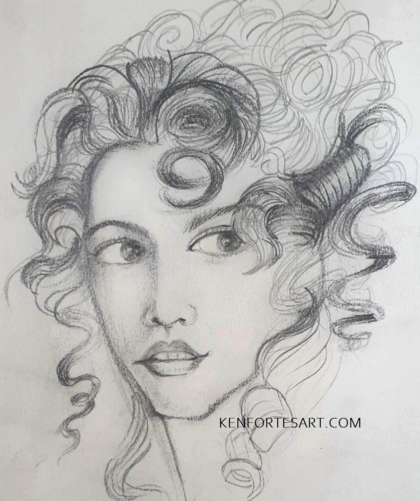 Lady in curly hair - Kenfortes art class - level intermediate 2