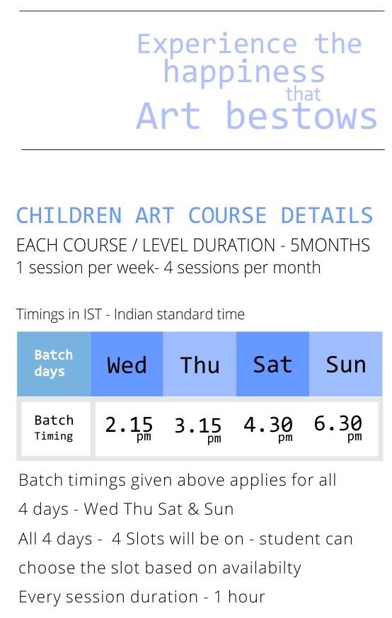ONLINE ART CLASS TIMINGS - kenfortes art academy - children courses time slots