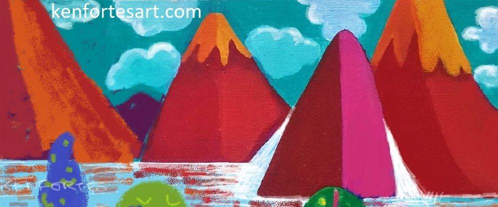 mountains water falls children online art classes beginners level 1 art courses